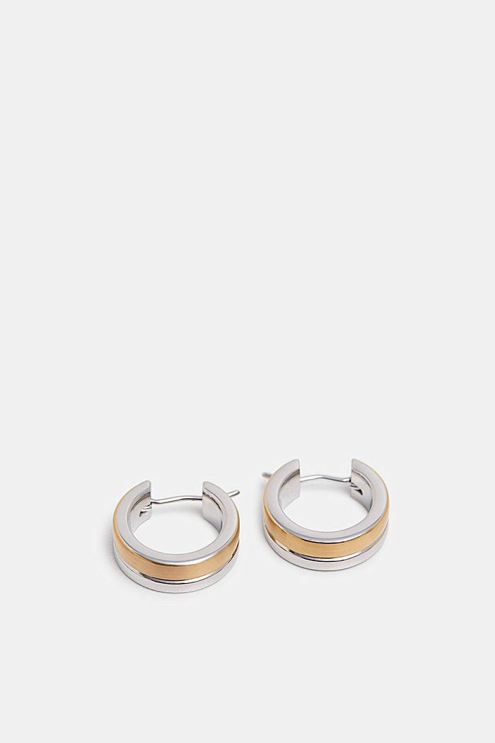 Tweekleurige oorbellen van edelstaal, GOLD, detail image number 1