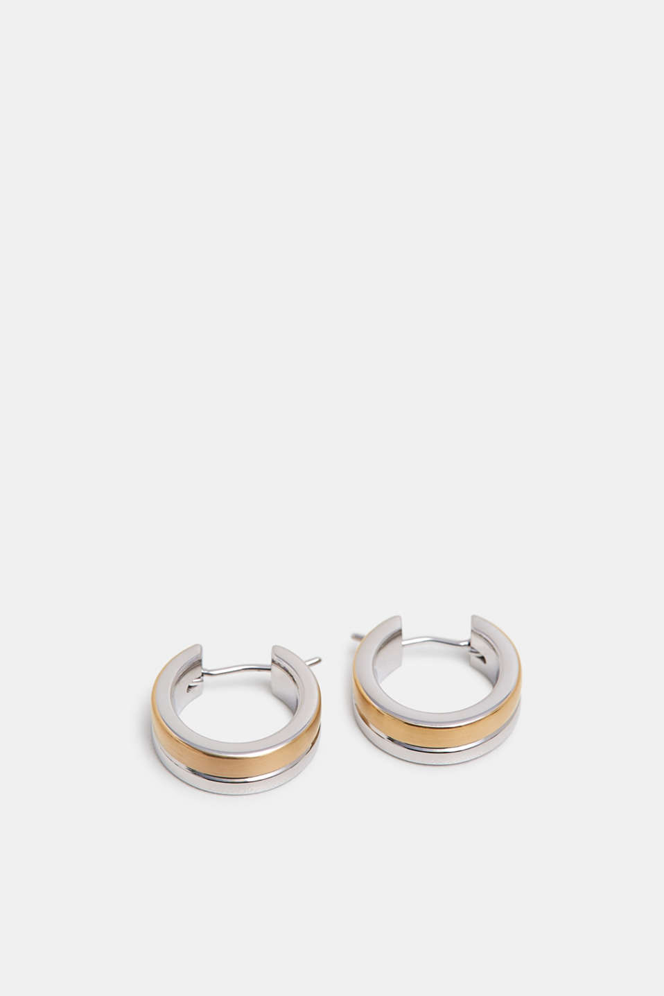 Two-tone earrings in stainless steel, GOLD, detail image number 1