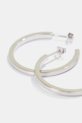 Stainless-steel hoop earrings, SILVER, detail
