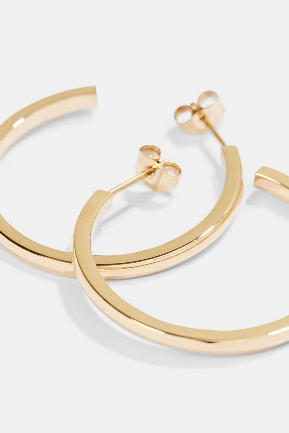 Stainless-steel hoop earrings, GOLD, detail image number 1