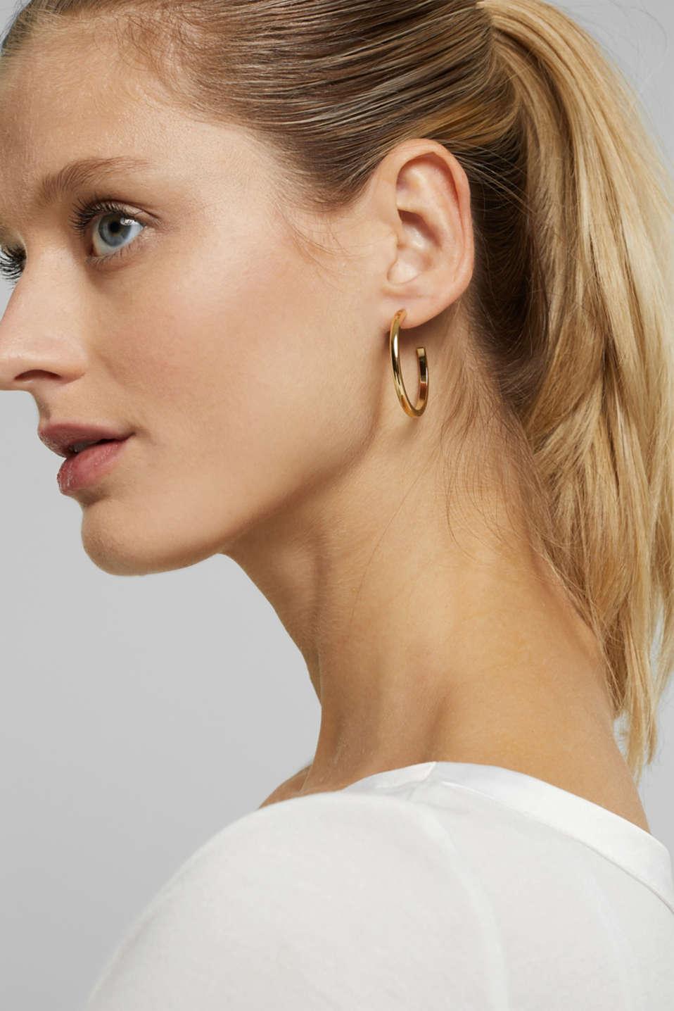 Stainless-steel hoop earrings, GOLD, detail image number 2