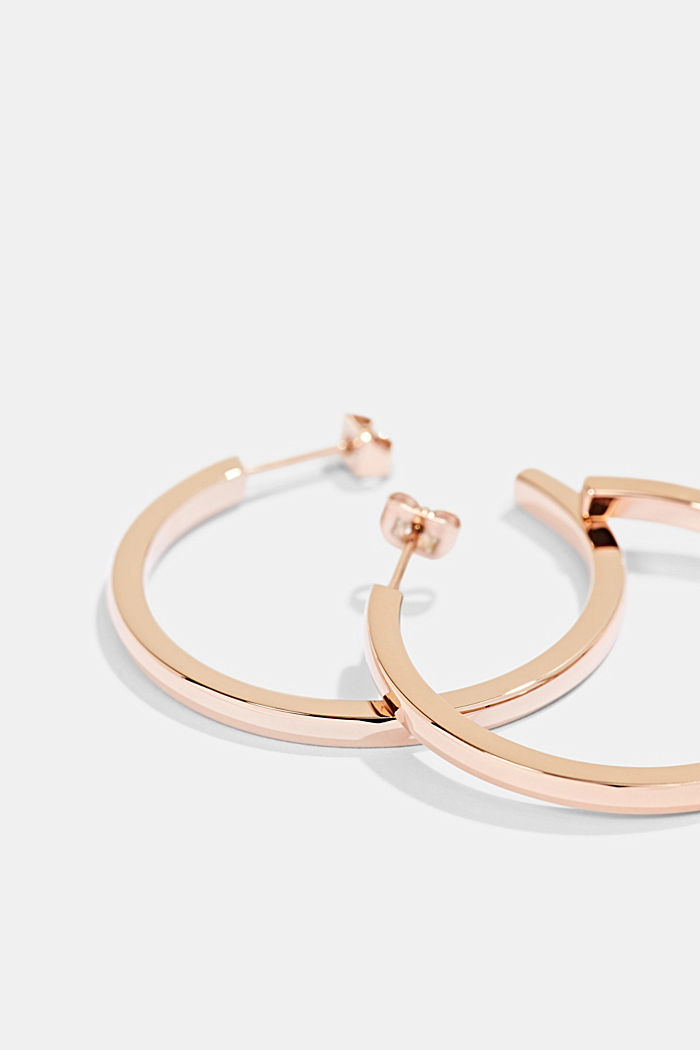 Rose gold hoop earrings in stainless steel