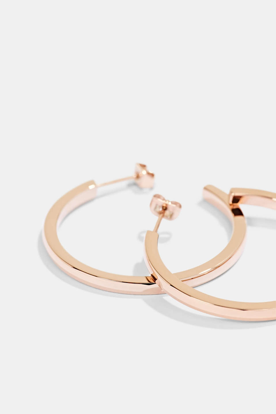 Rose gold hoop earrings in stainless steel, ROSEGOLD, detail image number 1