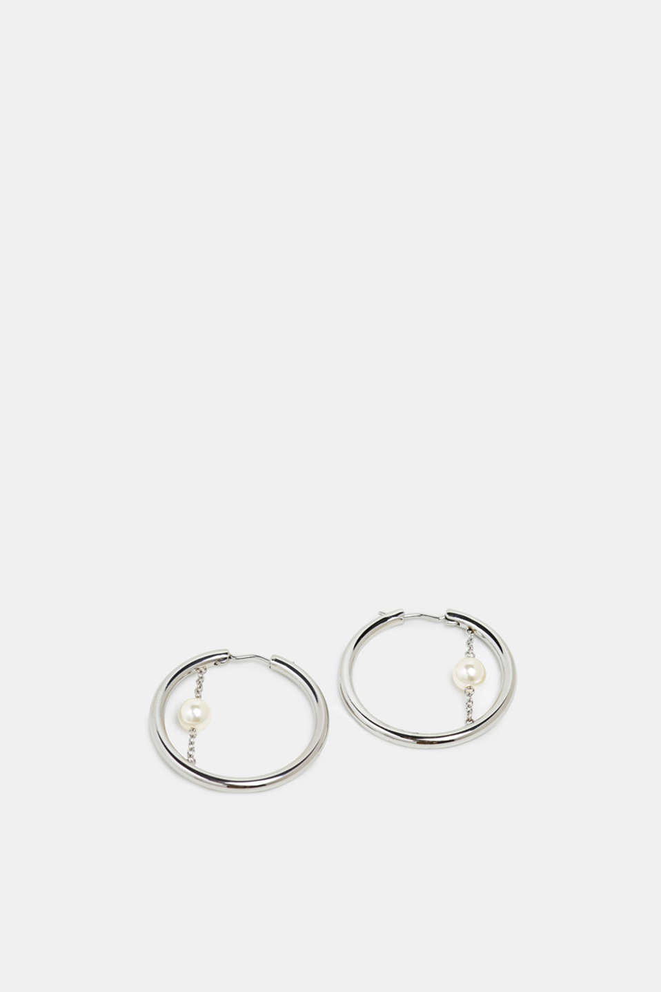 Stainless steel hoop earrings with a beaded detail, SILVER, detail image number 0