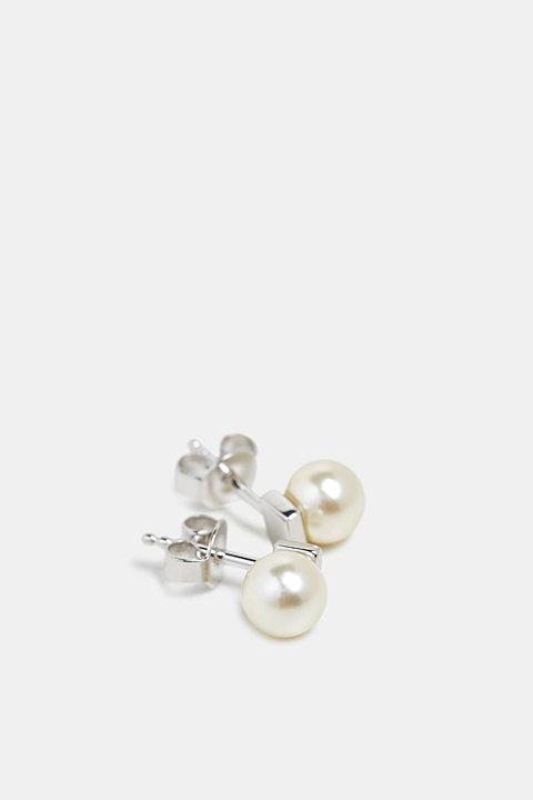 Stud earrings with a bead, sterling silver