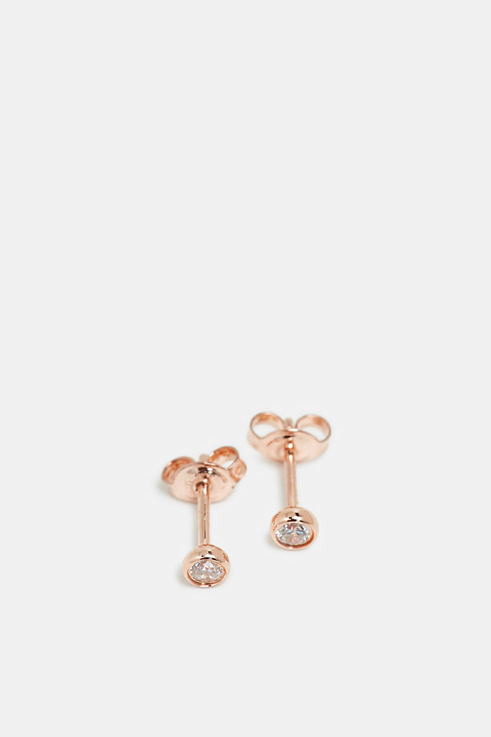 Stud earrings with zirconia, sterling silver, ROSEGOLD, detail image number 1