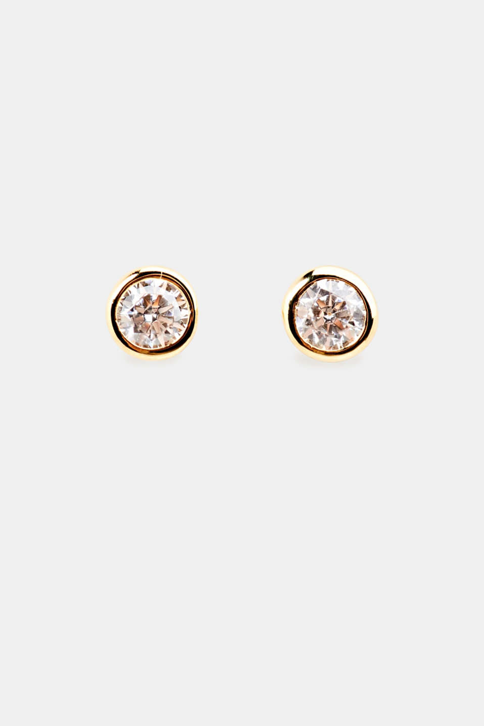Stud earrings with zirconia, sterling silver, 1COLOR, detail image number 0