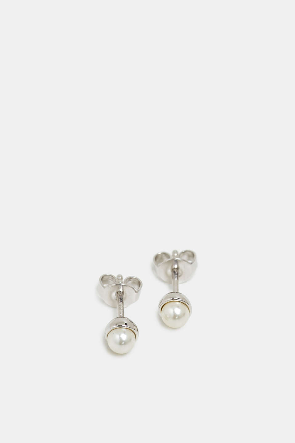 Stud earrings with a bead, sterling silver, SILVER, detail image number 1