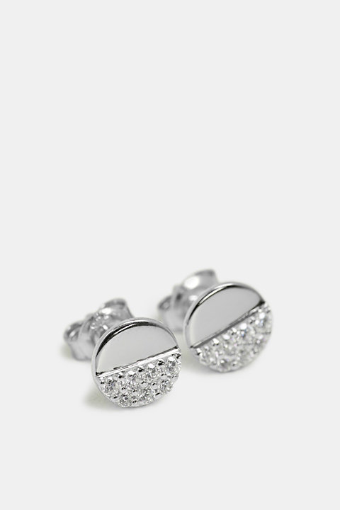 Stud earrings with a zirconia trim in sterling silver