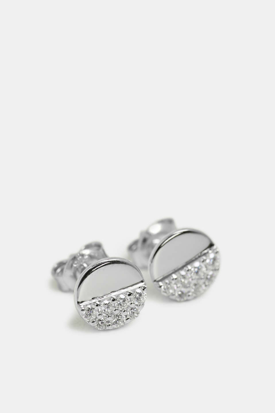 Stud earrings with a zirconia trim in sterling silver, SILVER, detail image number 0