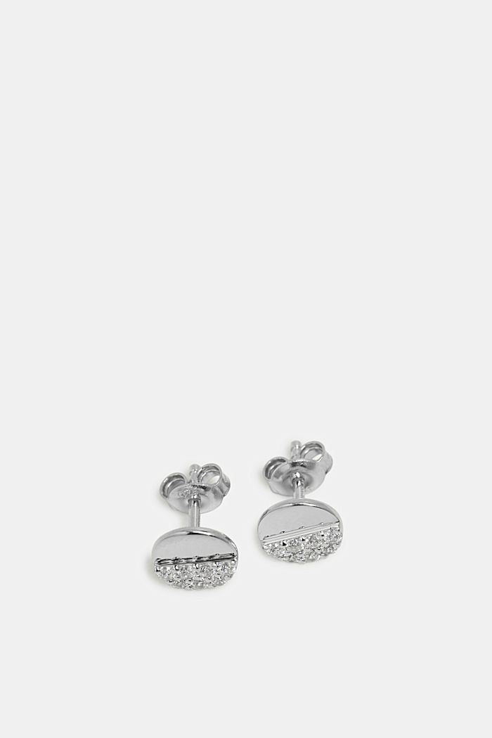 Stud earrings with a zirconia trim in sterling silver, SILVER, detail image number 1