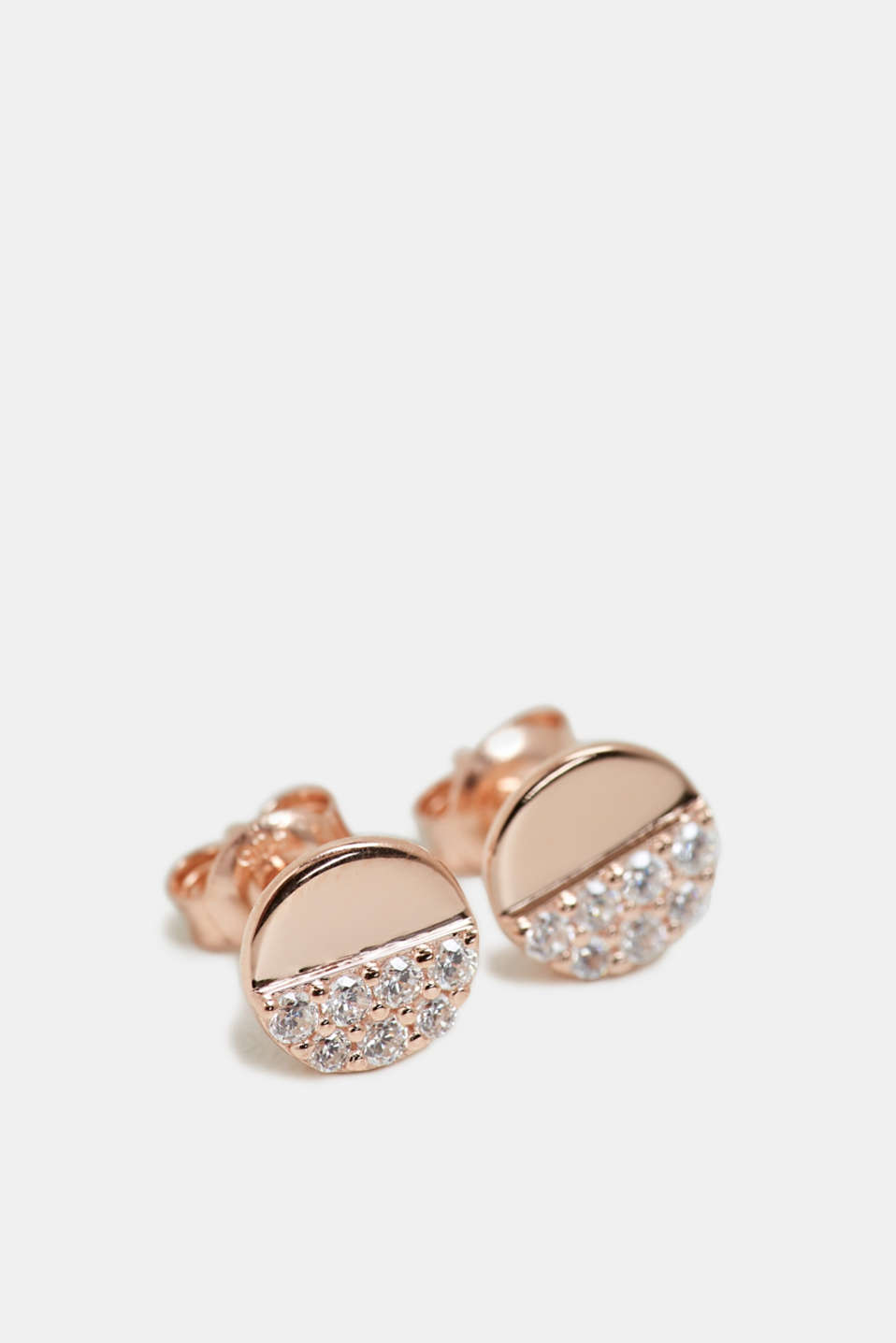 Stud earrings with a zirconia trim in sterling silver, ROSEGOLD, detail image number 0