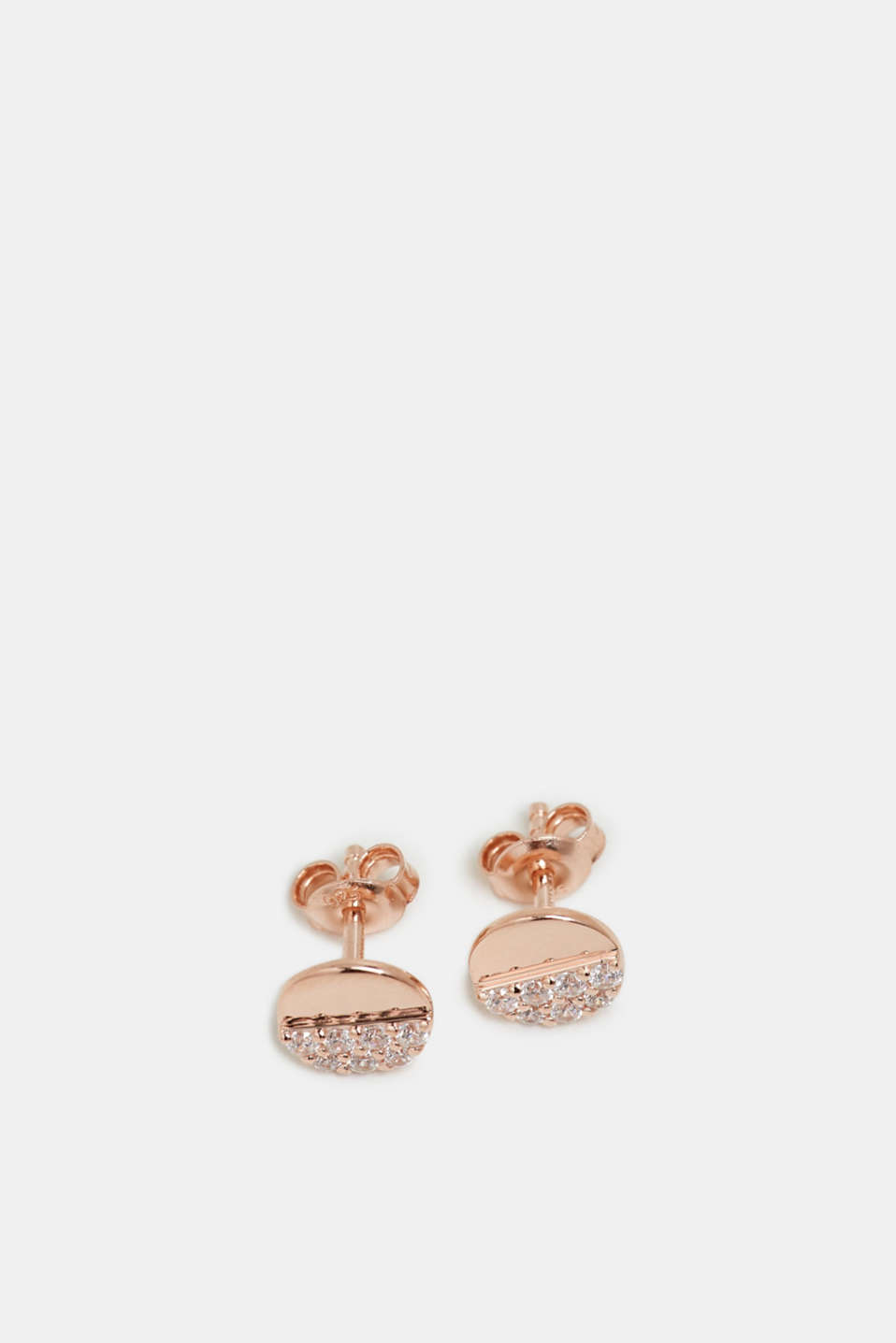 Stud earrings with a zirconia trim in sterling silver, ROSEGOLD, detail image number 1