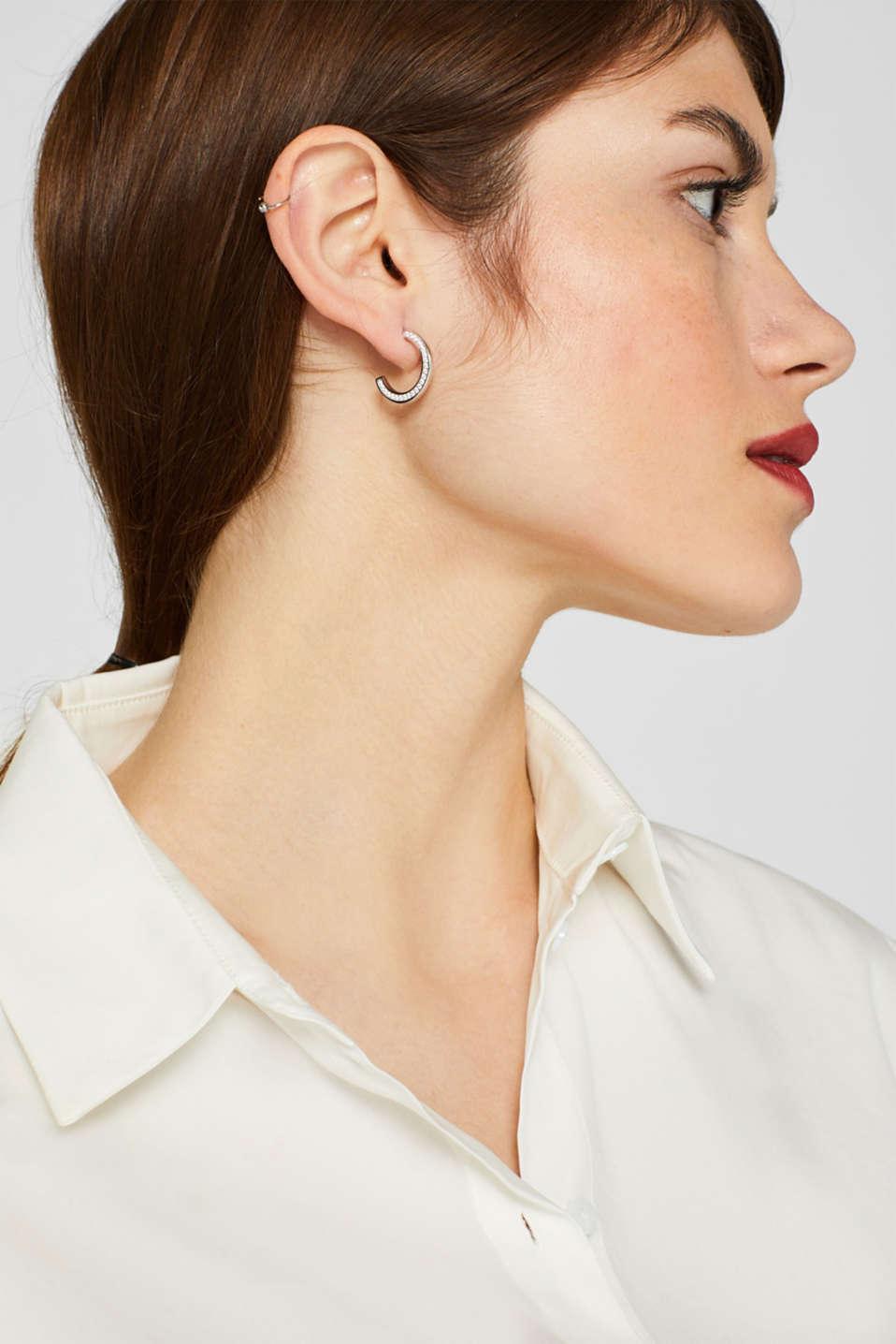 Hoop earrings with zirconia, sterling silver, SILVER, detail image number 2