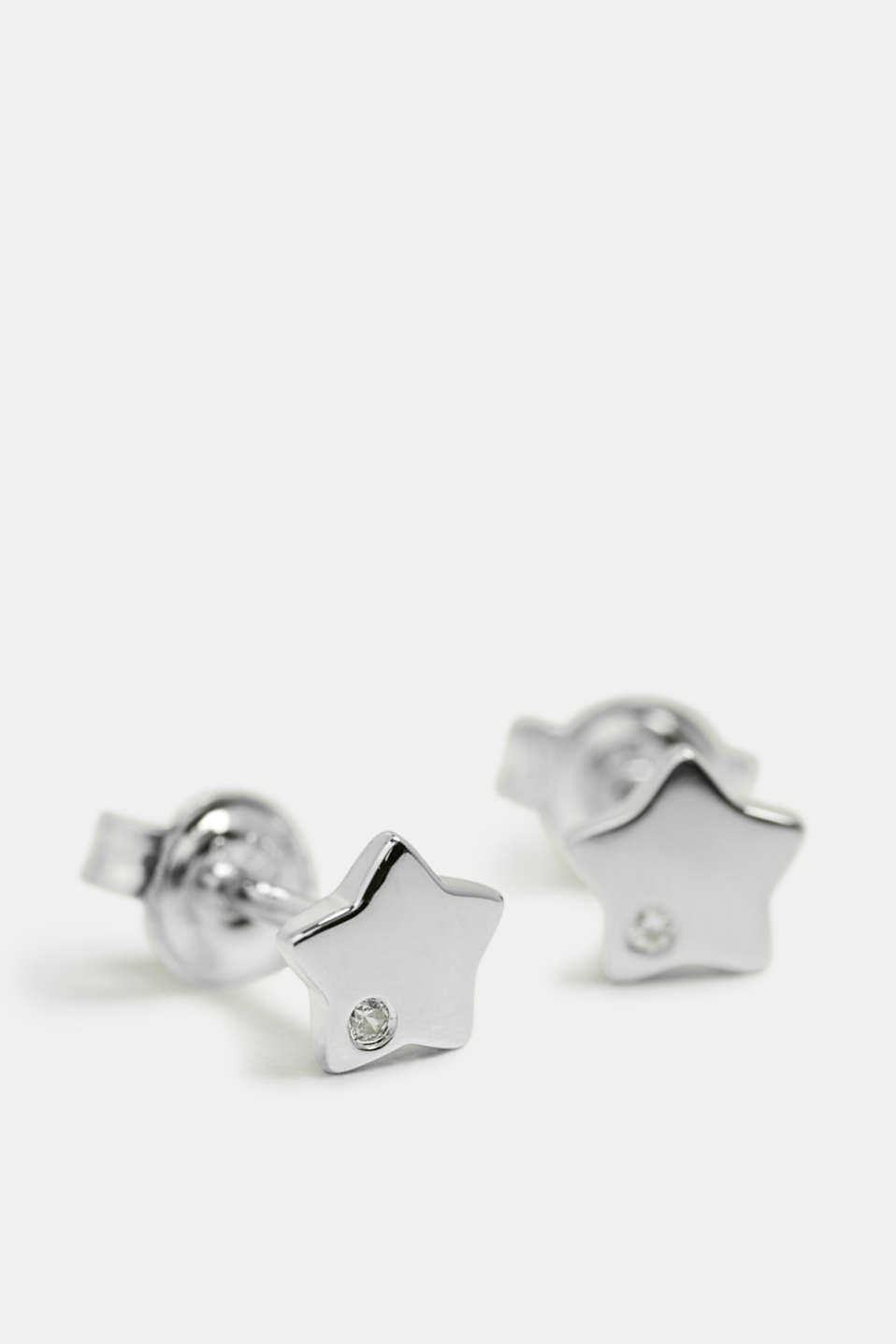 Star-shaped stud earrings in sterling silver, SILVER, detail image number 0