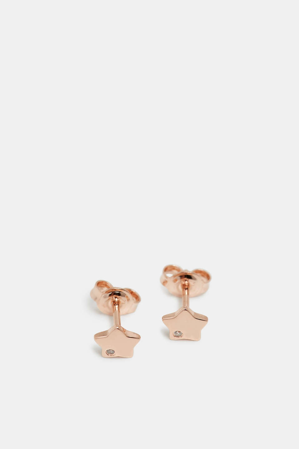 Star-shaped stud earrings in sterling silver, ROSEGOLD, detail image number 1