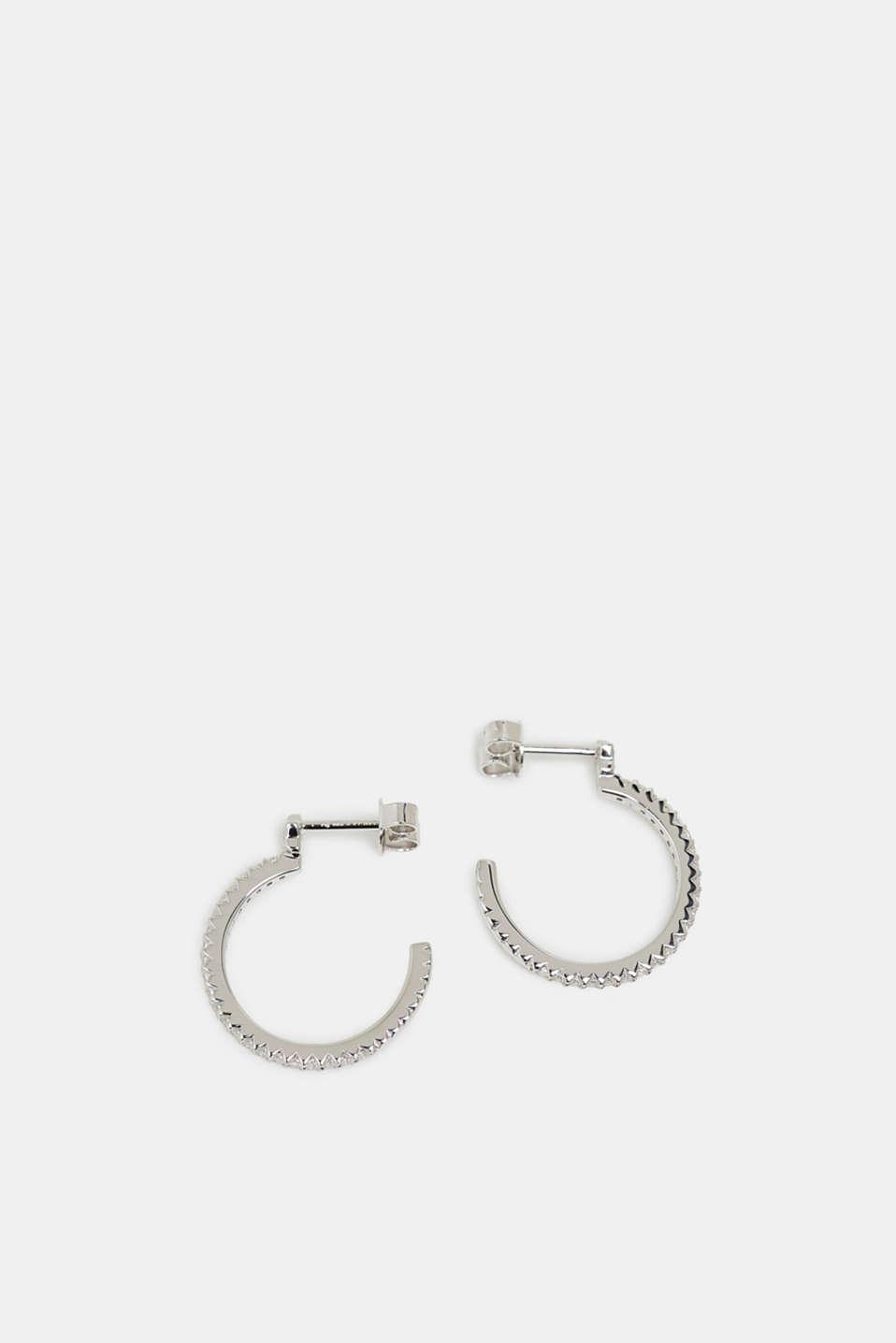 Hoop earrings with zirconia, sterling silver, SILVER, detail image number 0