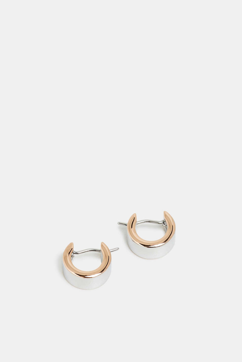 Two-tone earrings in stainless steel, ROSEGOLD, detail image number 1