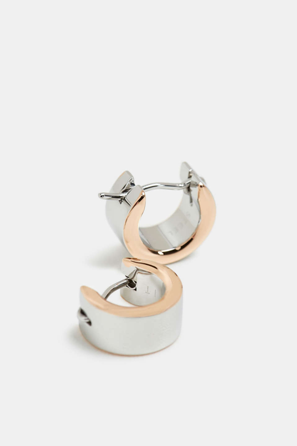Two-tone earrings in stainless steel, ROSEGOLD, detail image number 0