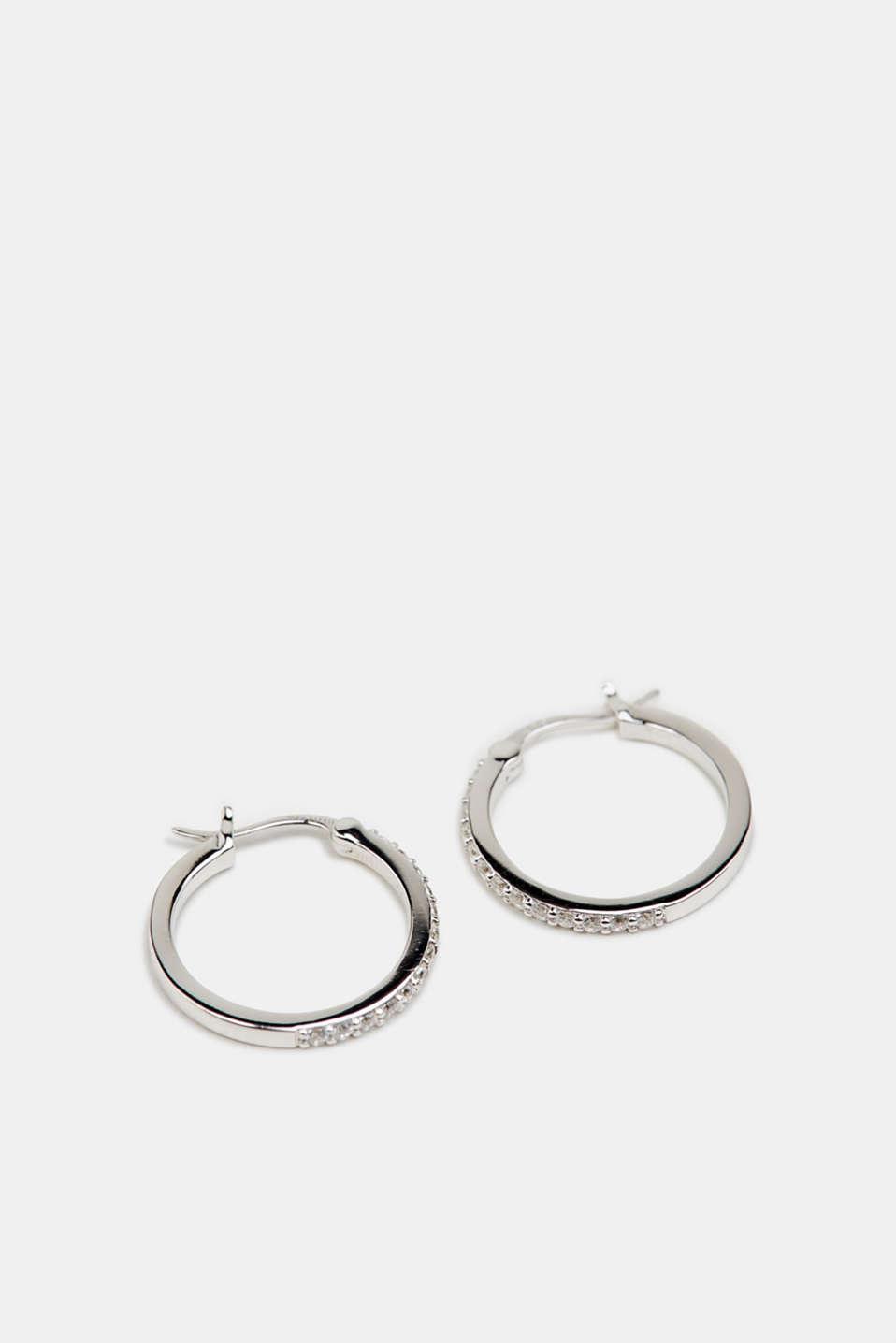 Hoop earrings set with zirconia, sterling silver, LCSILVER, detail image number 0