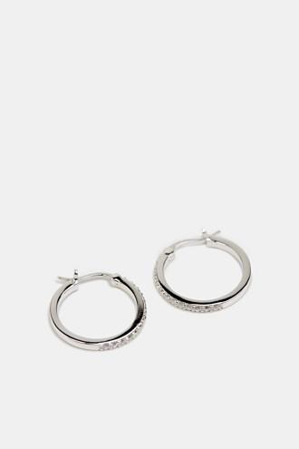 Hoop earrings set with zirconia, sterling silver