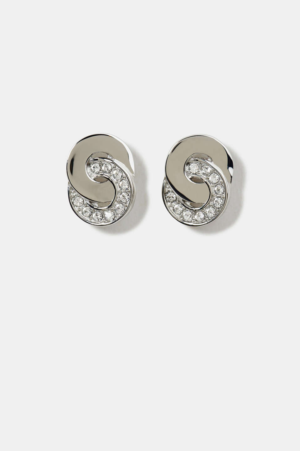 Stainless steel stud earrings with zirconia, LCSILVER, detail image number 0