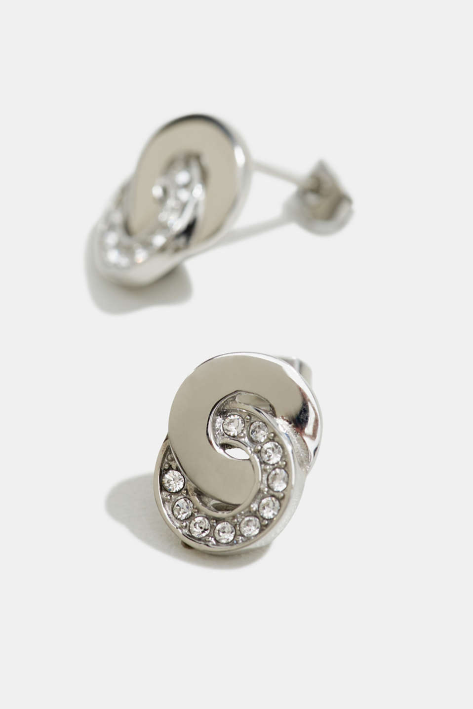 Stainless steel stud earrings with zirconia, LCSILVER, detail image number 1