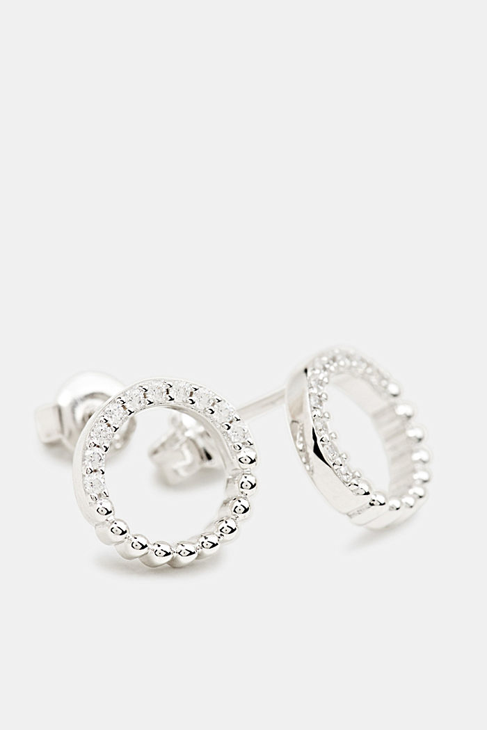Stud earrings with zirconia, sterling silver, SILVER, detail image number 0