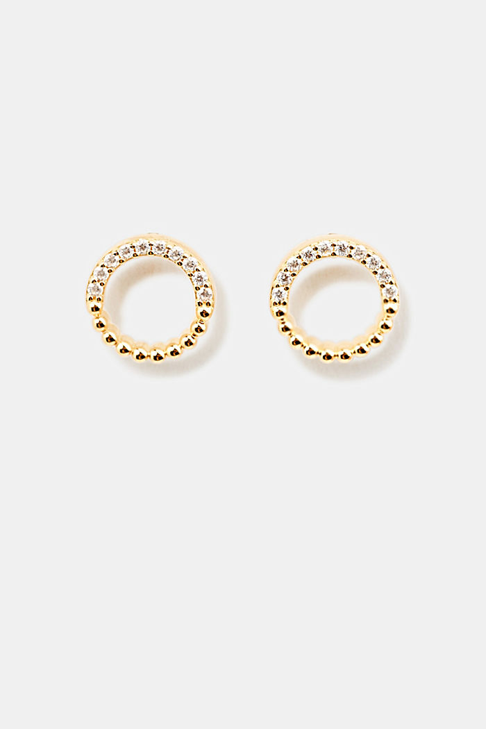 Stud earrings with zirconia rings, GOLD, detail image number 0