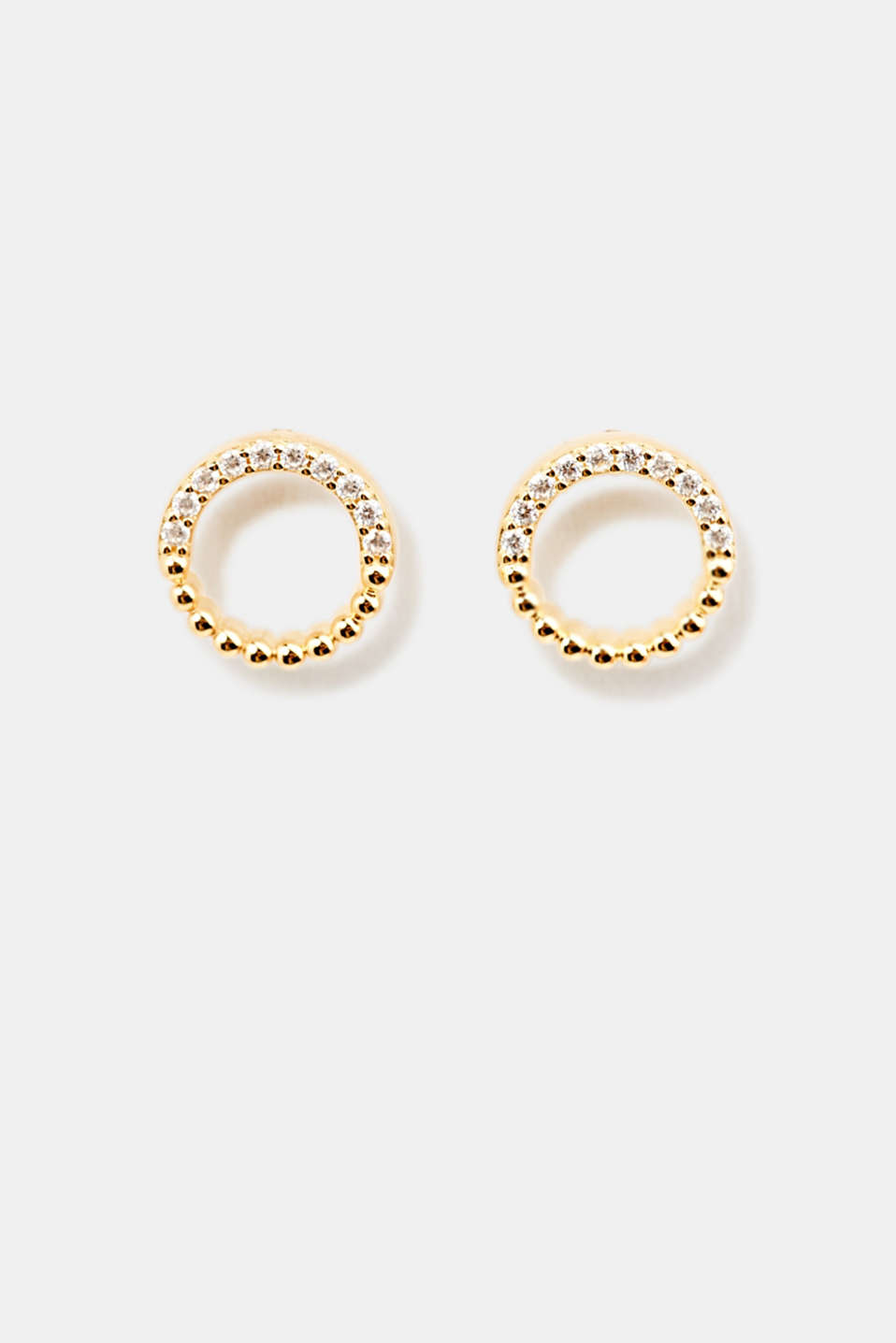 Stud earrings with zirconia rings, LCGOLD, detail image number 0