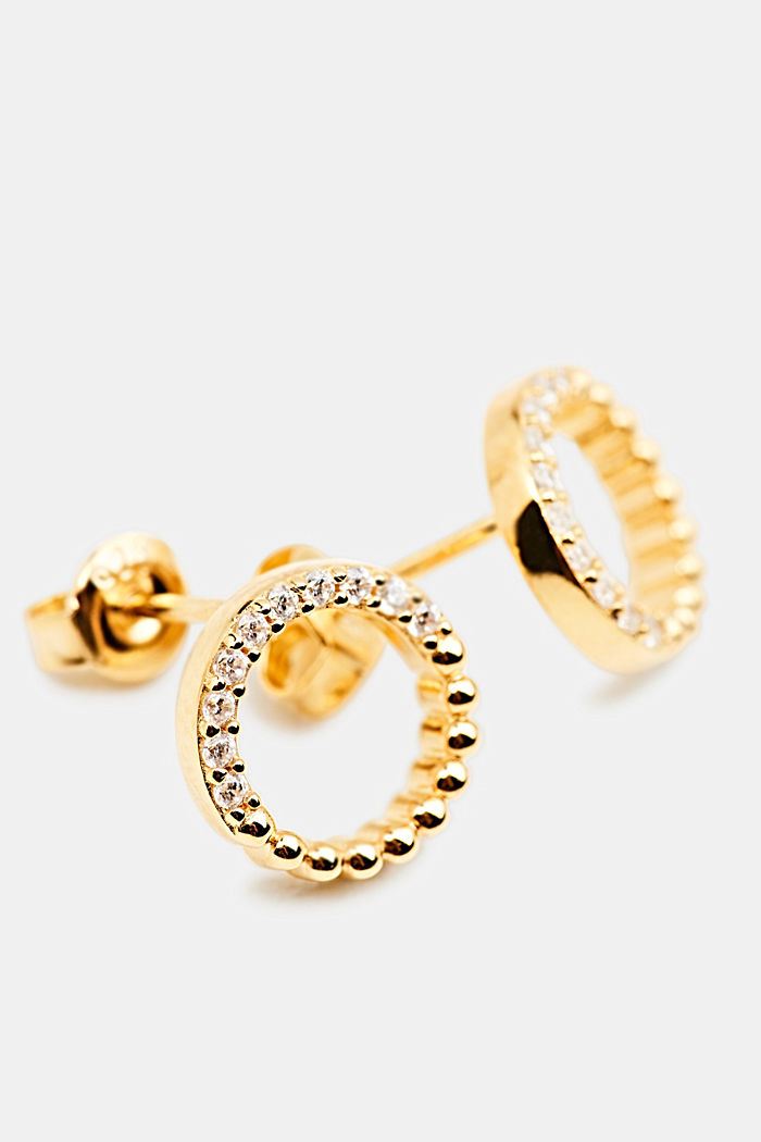 Stud earrings with zirconia rings, GOLD, detail image number 1