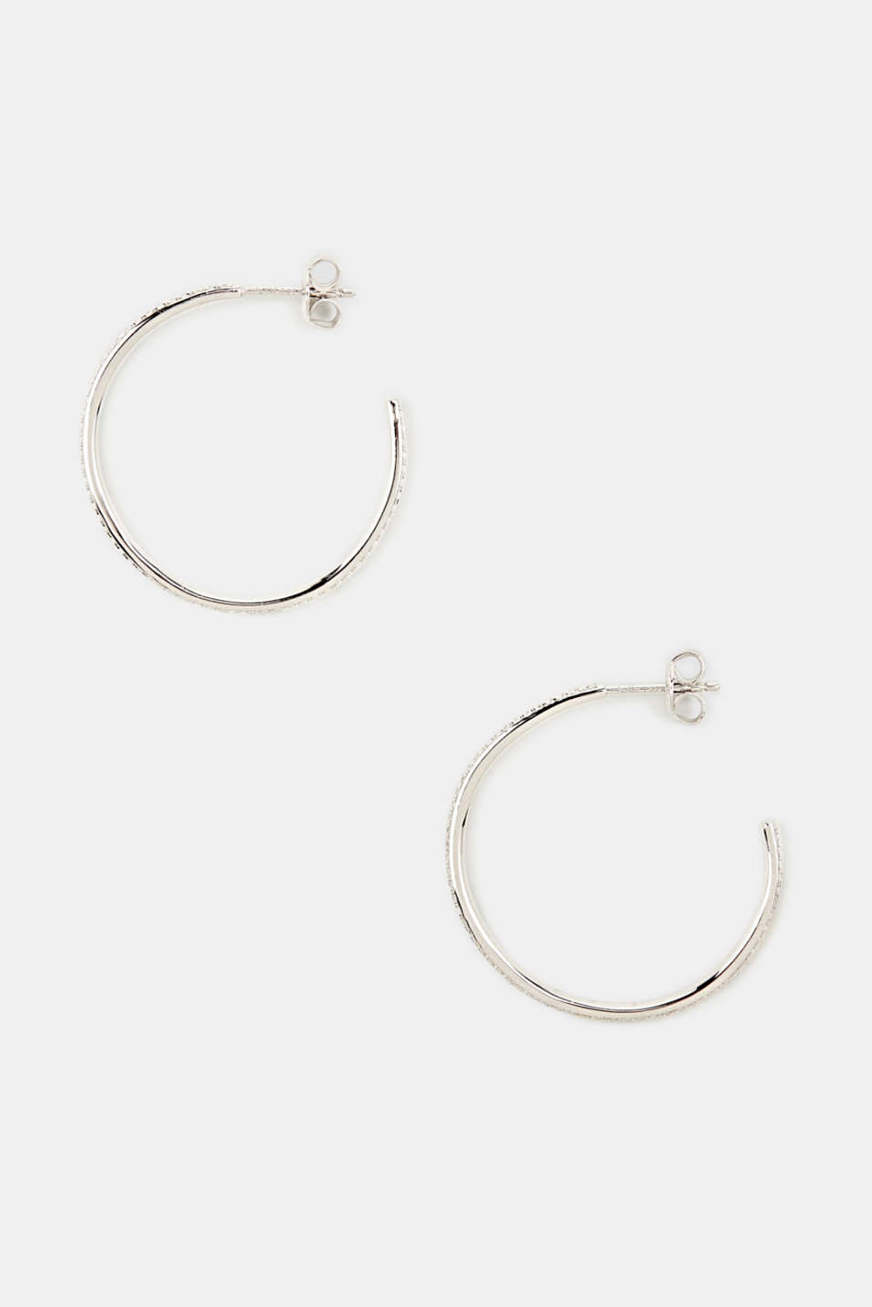 Hoop earrings with zirconia, sterling silver, LCSILVER, detail image number 0