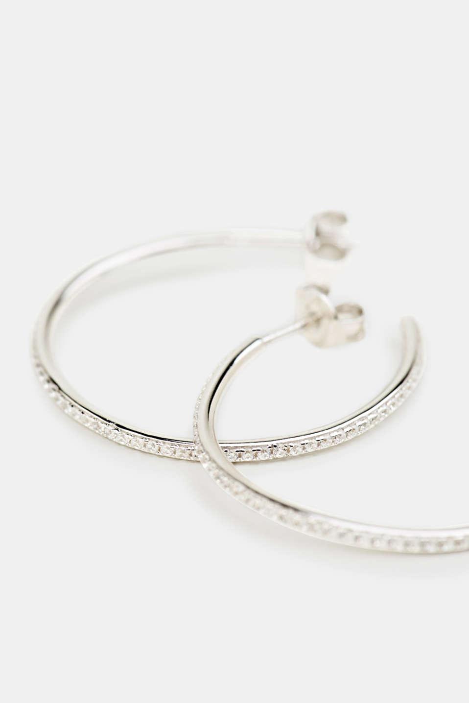 Hoop earrings with zirconia, sterling silver, LCSILVER, detail image number 1