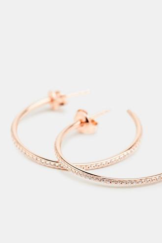 Hoop earrings with zirconia, sterling silver