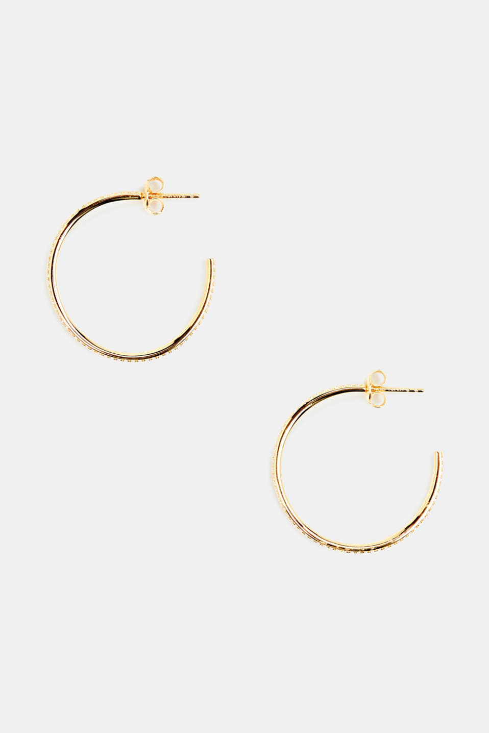 Hoop earrings with zirconia, sterling silver, LCGOLD, detail image number 0