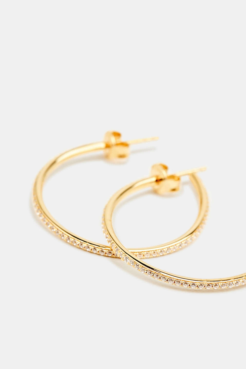 Hoop earrings with zirconia, sterling silver, LCGOLD, detail image number 1