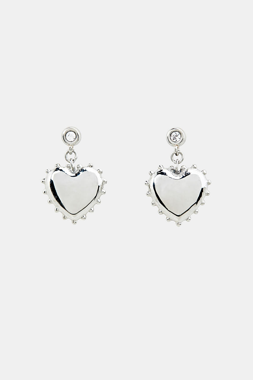 Stud earrings with heart charm, made of stainless steel