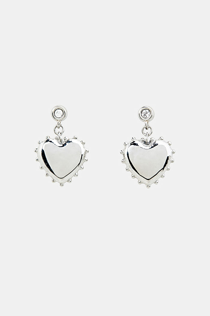 Stud earrings with heart charm, made of stainless steel, SILVER, overview