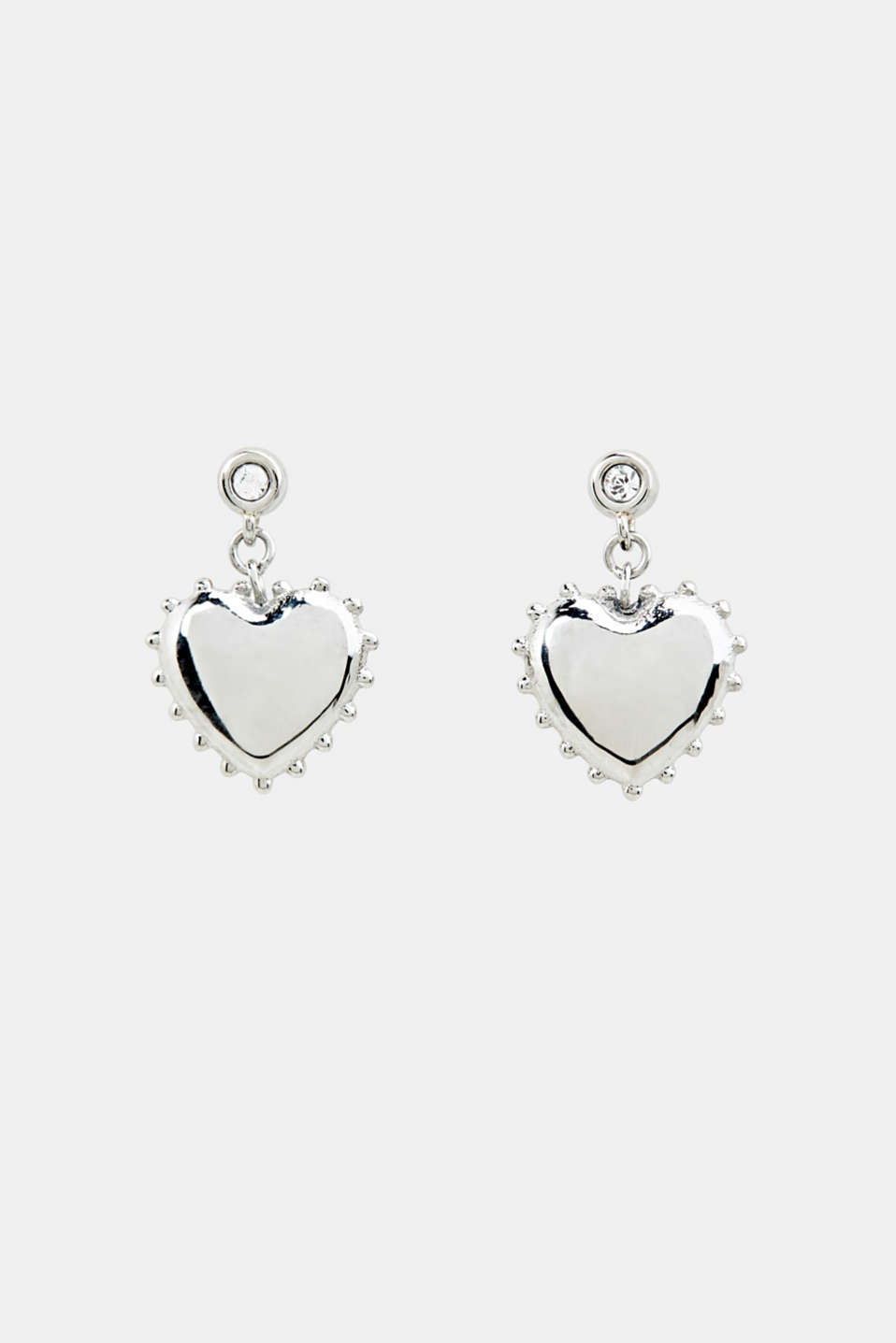 Stud earrings with heart charm, made of stainless steel, LCSILVER, detail image number 0