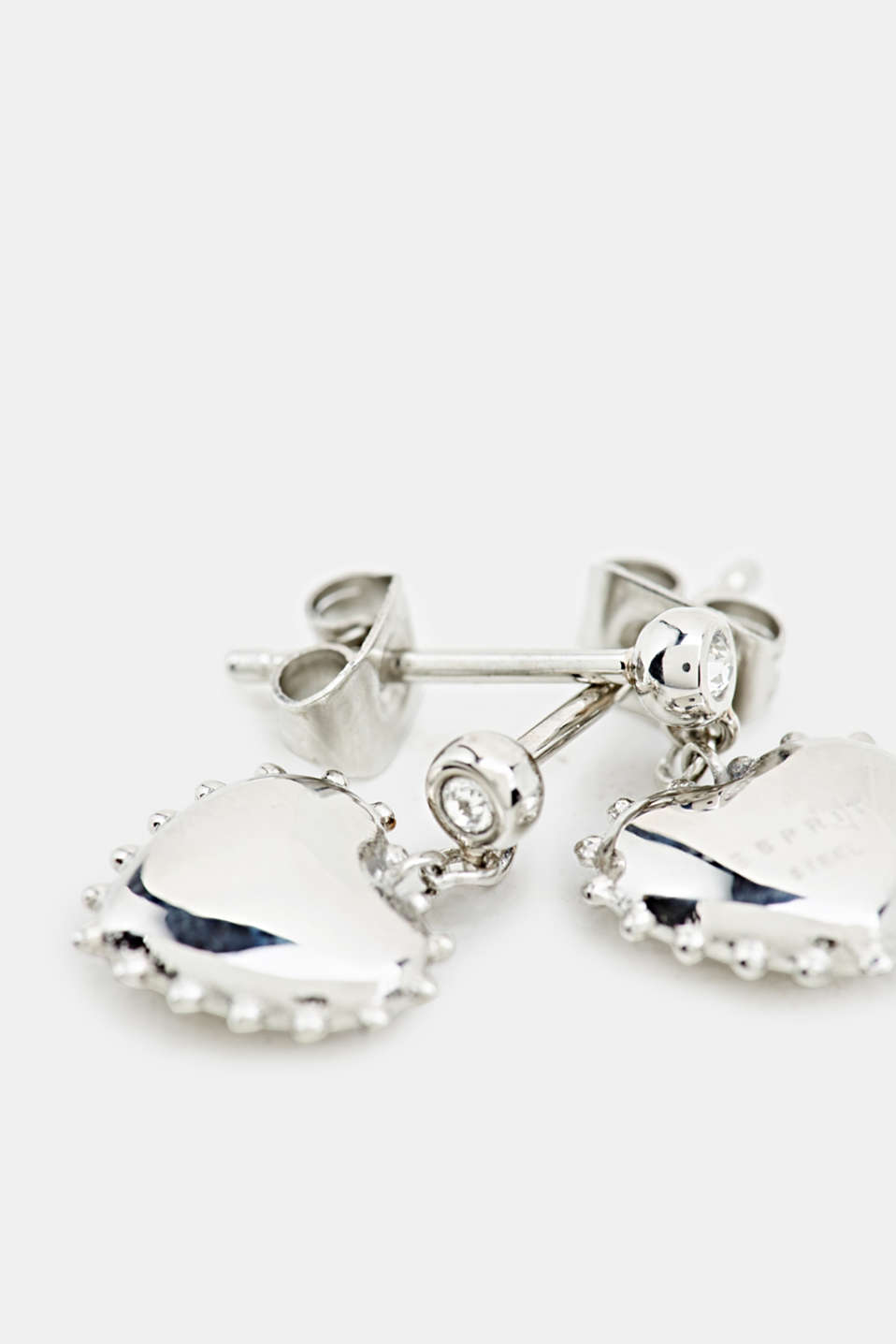 Stud earrings with heart charm, made of stainless steel, LCSILVER, detail image number 1