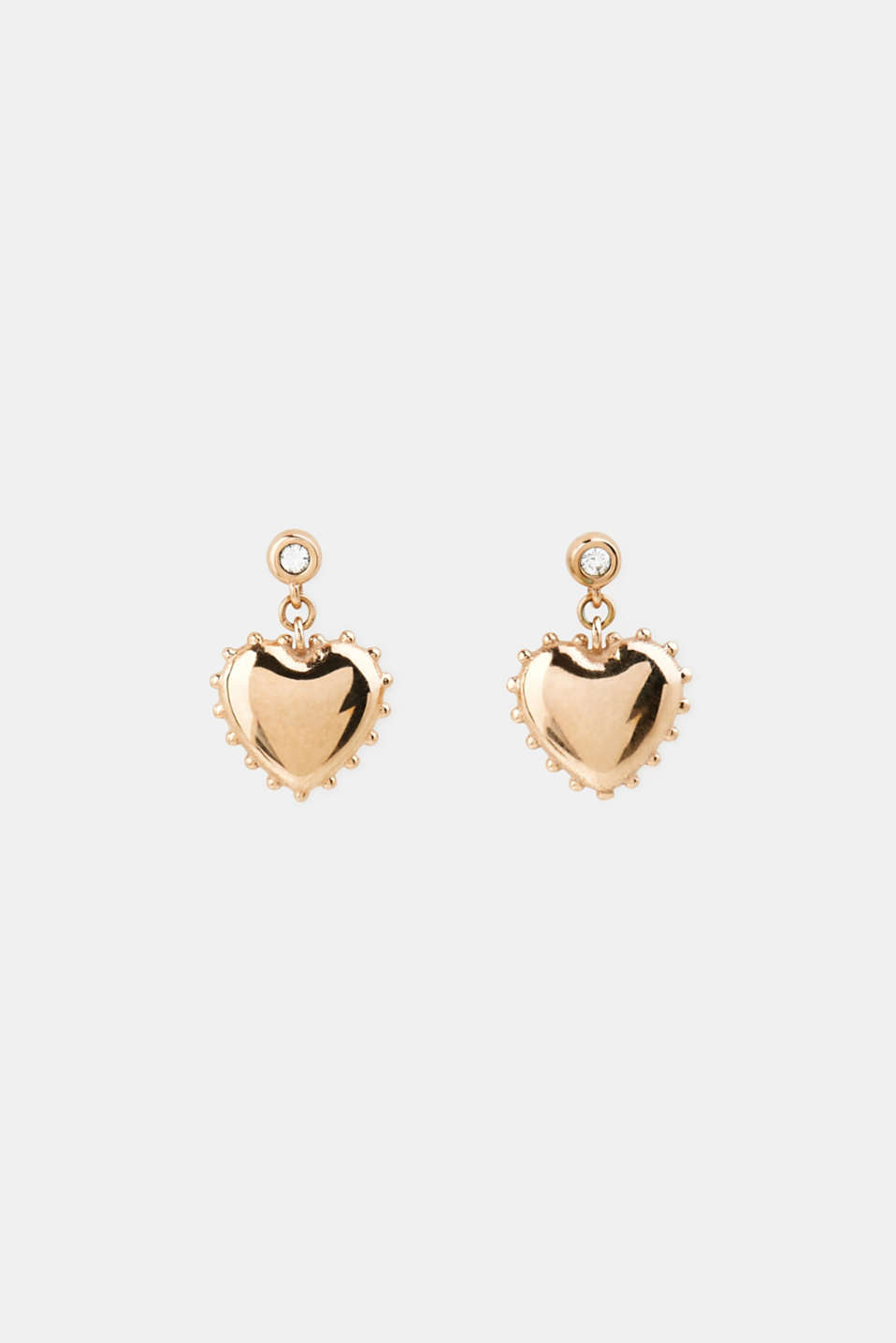 Stud earrings with heart charm, LCROSEGOLD, detail image number 0