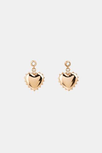 Stud earrings with heart charm