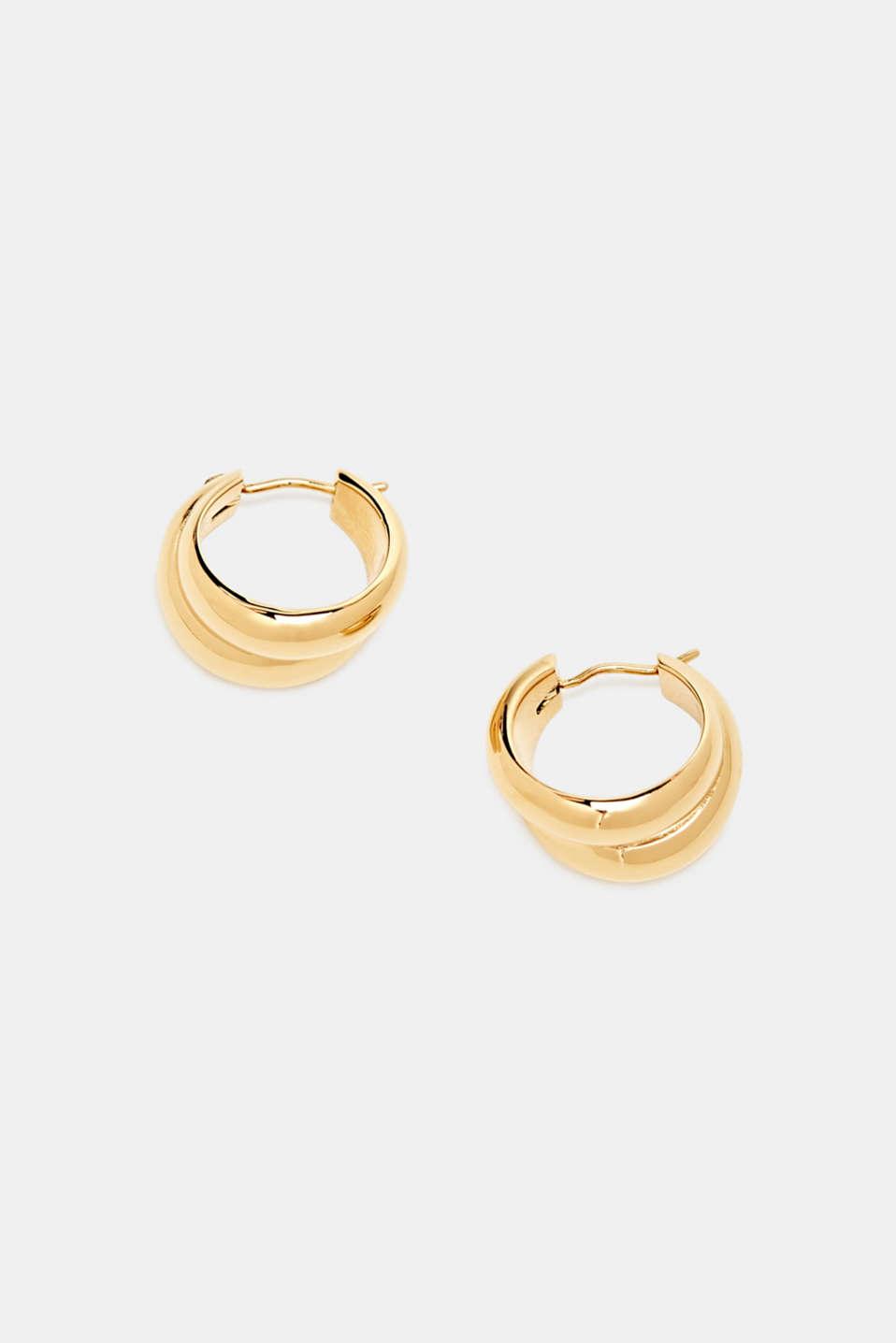 Stainless-steel hoop earrings, LCGOLD, detail image number 1