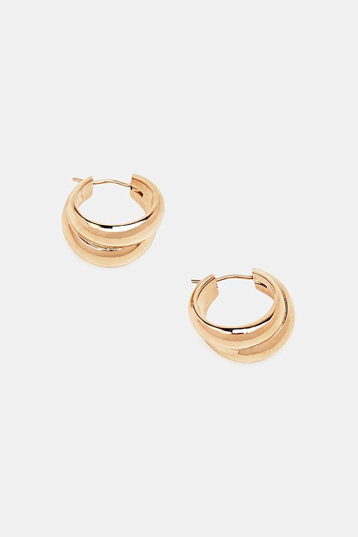 Stainless-steel hoop earrings, ROSEGOLD, detail image number 1