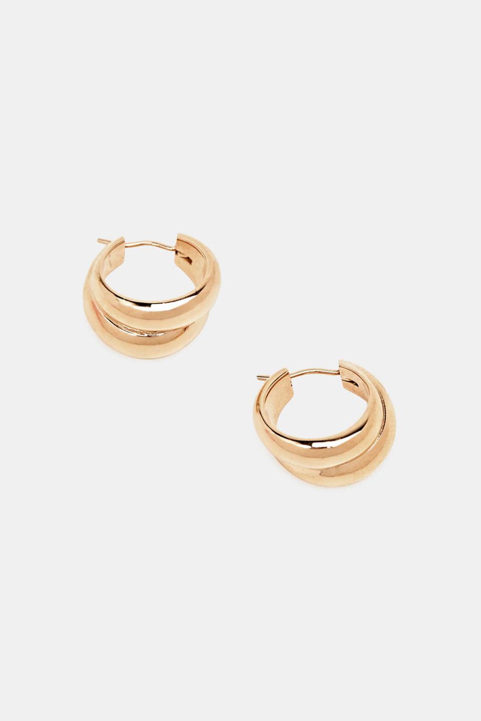 Stainless-steel hoop earrings, LCROSEGOLD, detail image number 1