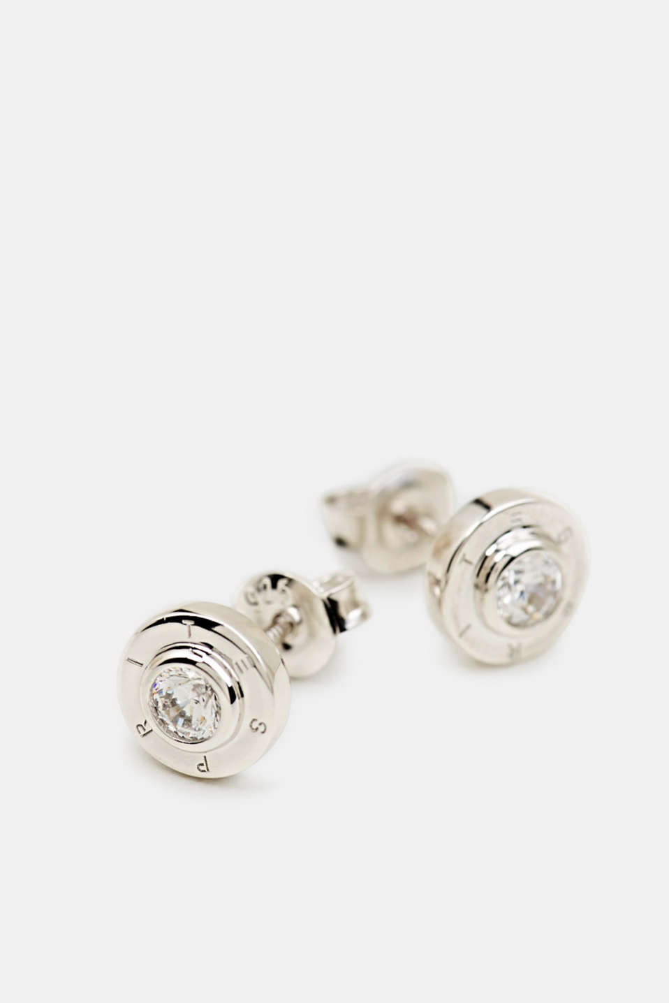 Stud earrings with zirconia, sterling silver, LCSILVER, detail image number 1