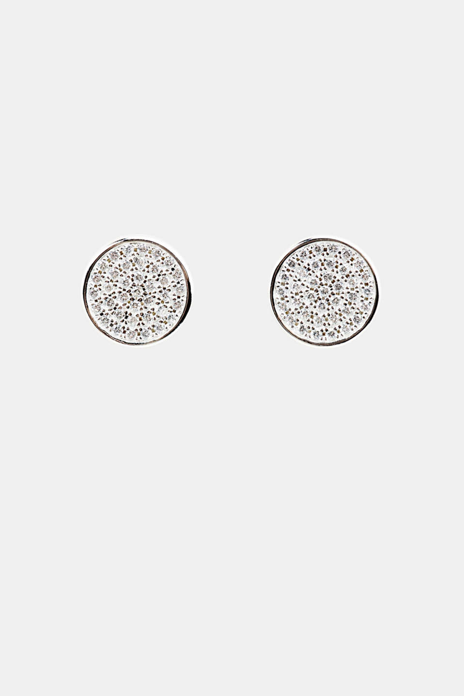 Stud earrings with zirconia, sterling silver, LCSILVER, detail