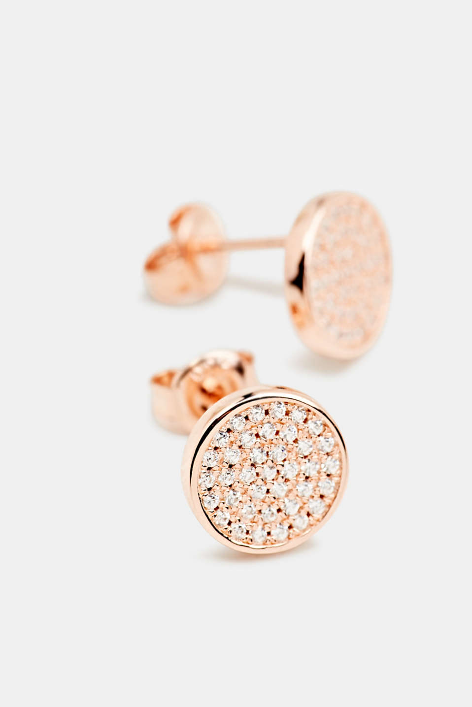 Stud earrings with zirconia, sterling silver, LCROSEGOLD, detail image number 1