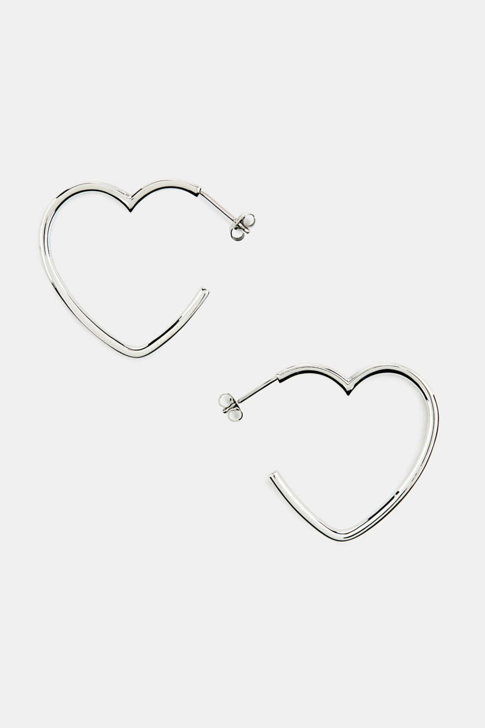 Heart-shaped hoop earrings in stainless steel, LCSILVER, detail image number 0