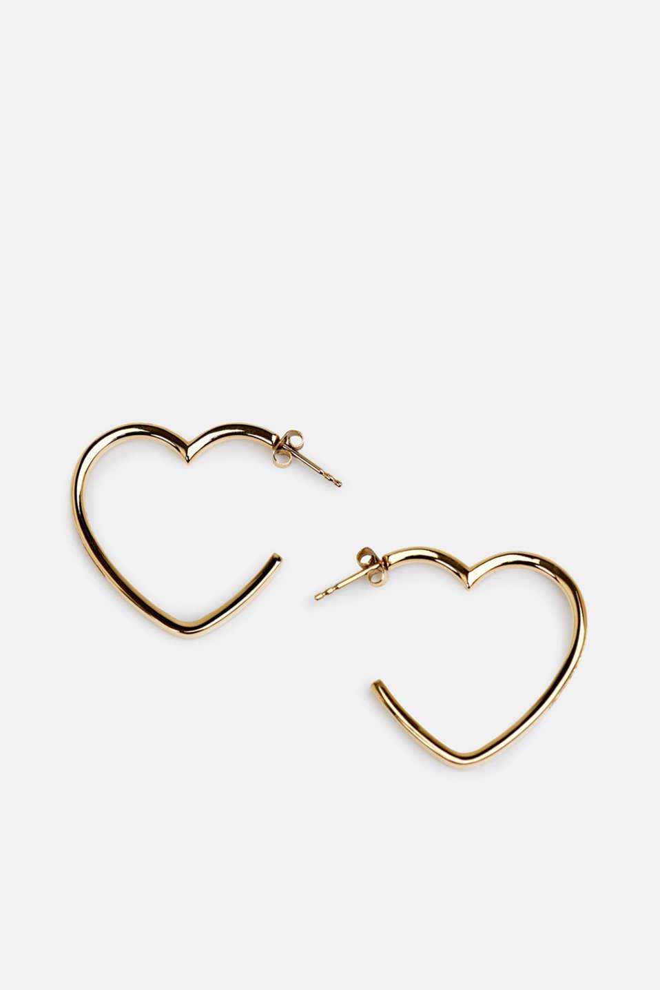 Stainless steel heart hoop earrings, LCGOLD, detail image number 0